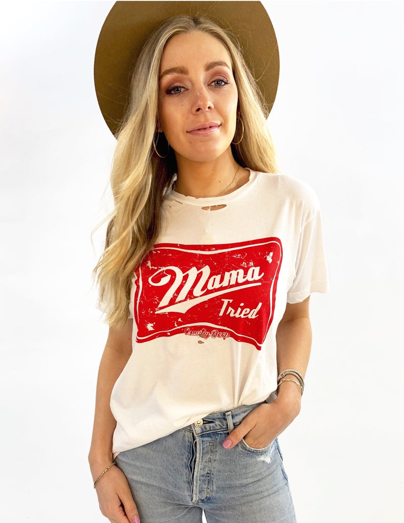 Mama Tried Unisex Distressed T-Shirt (White)