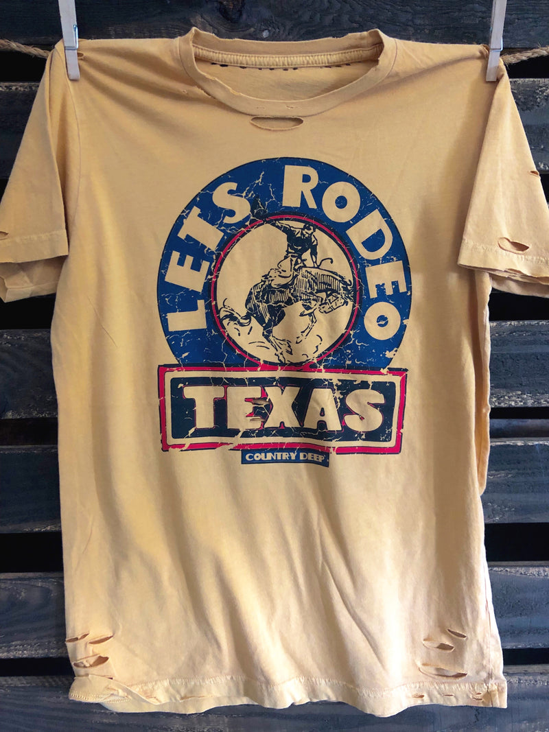 Let's Rodeo Texas Vintage Distressed T-Shirt