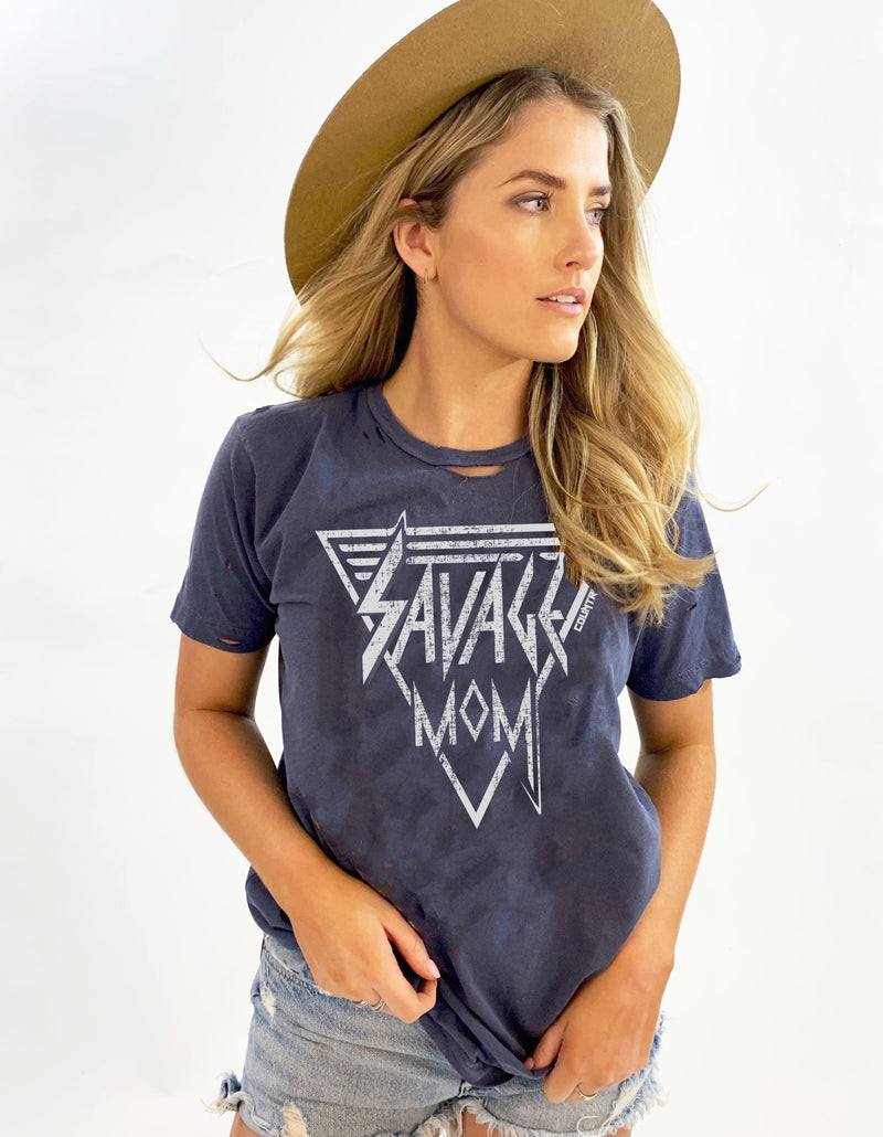 Savage Mom distressed unisex T shirt (COUPLE WEEKS DELAY ON MED, AND LARGES DUE TO HOT SELLER N STOCK LEVEL)