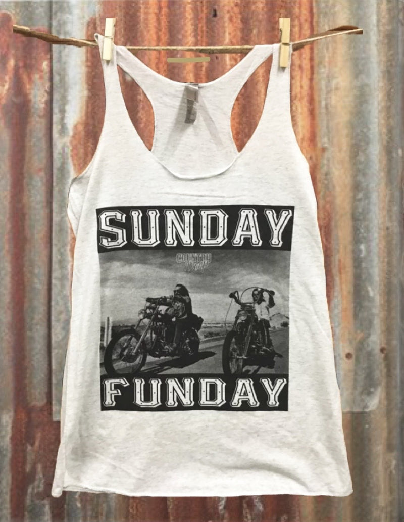 Moto Sunday Funday Racer Back Tank Top