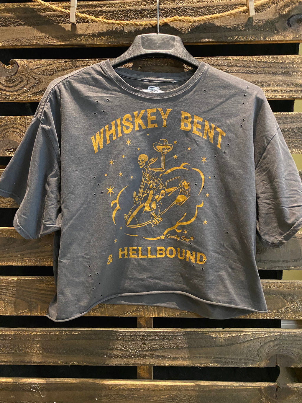 Whiskey Bent Hellbound OVERSIZED 90's vibe distressed Cropped  T- shirt