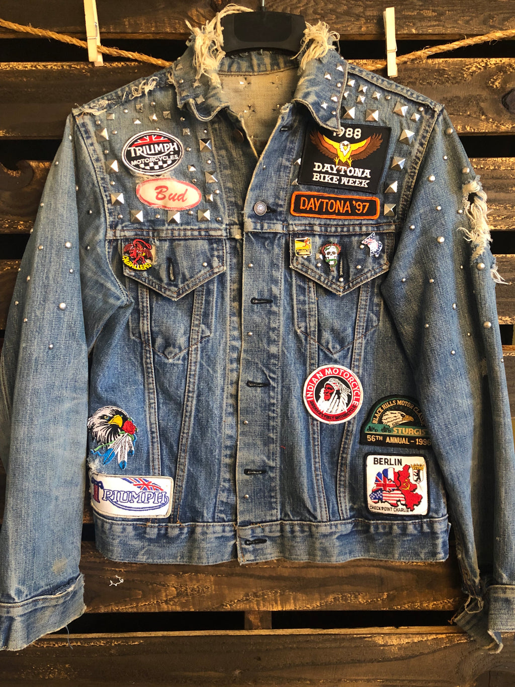 Bike Rally Vintage Denim Jacket