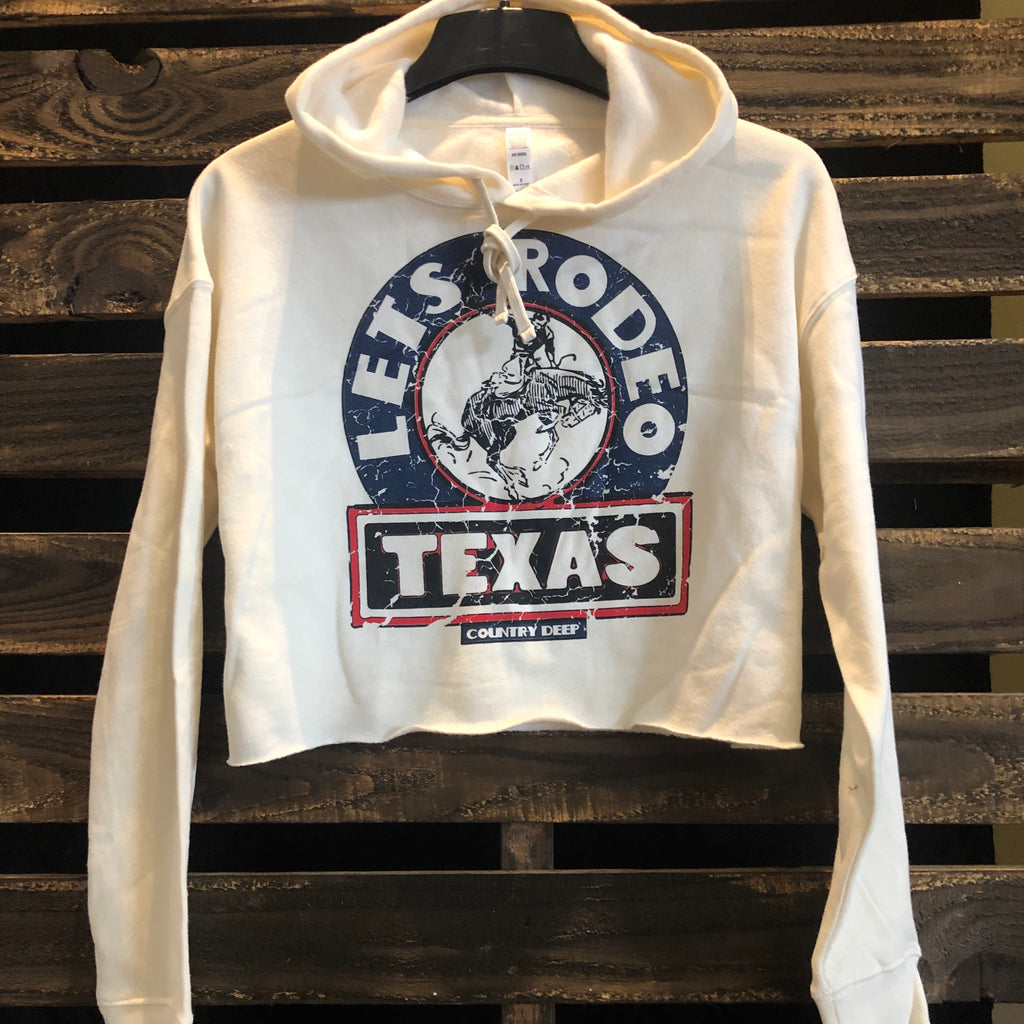Let's Texas Rodeo Cropped Hoodie