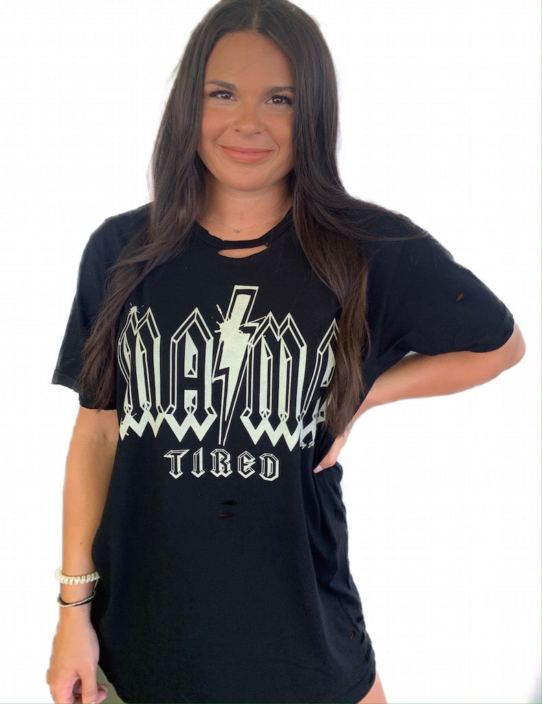 Mama Tired distressed unisex T-shirt in Solid Black
