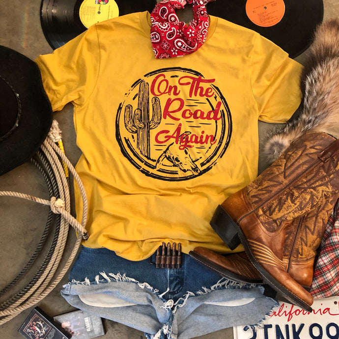 On The Road Again Country Deep mustard unisex T shirt