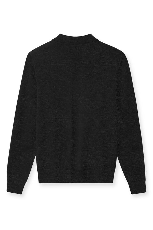 KOMME COX GREY LONG SLEEVE POLO KNIT