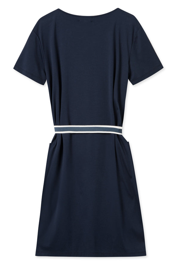 THALIA NAVY JERSEY DRESS WITH BELT