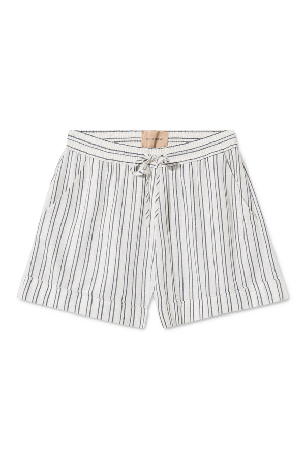PAM WHITE BLUE STRIPED SHORTS