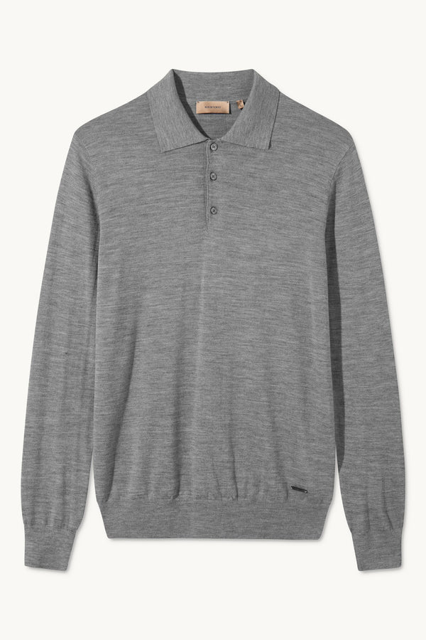 KOMME GREY MELANGE LONG SLEEVE POLO KNIT