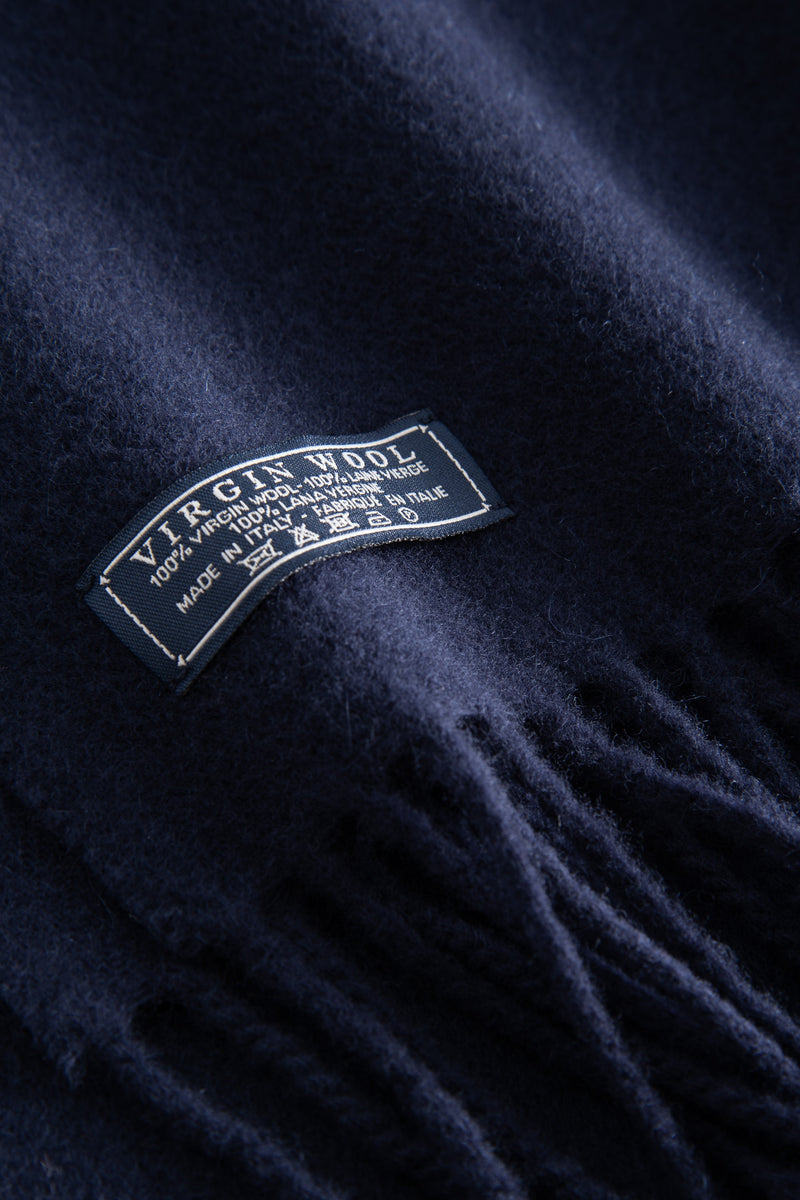 ASHTON NAVY VIRGIN WOOL SCARF