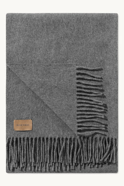 ASHTON GREY MELANGE VIRGIN WOOL SCARF