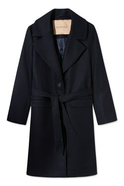 CHERI NAVY BELTED WOMEN COAT