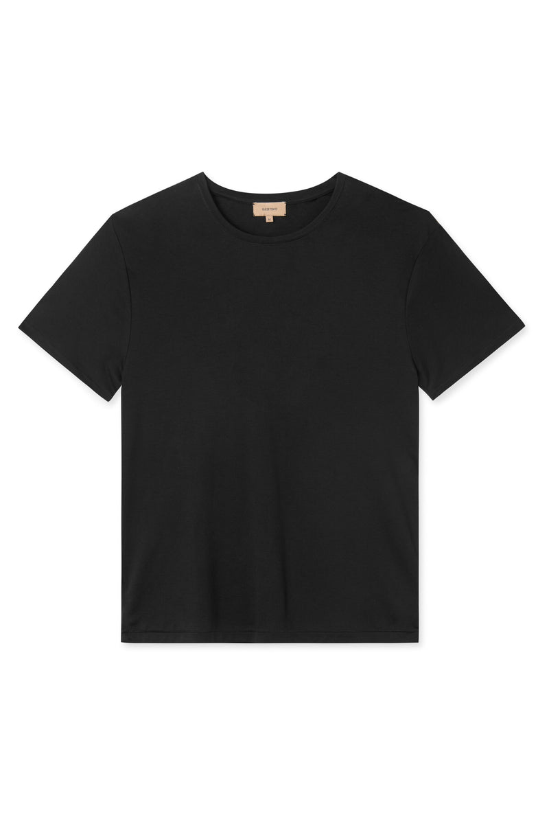 TREVES BLACK ORGANIC COTTON T-SHIRT