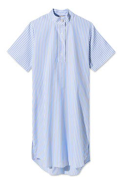 DAIMY LIGHT BLUE WHITE STRIPED DRESS