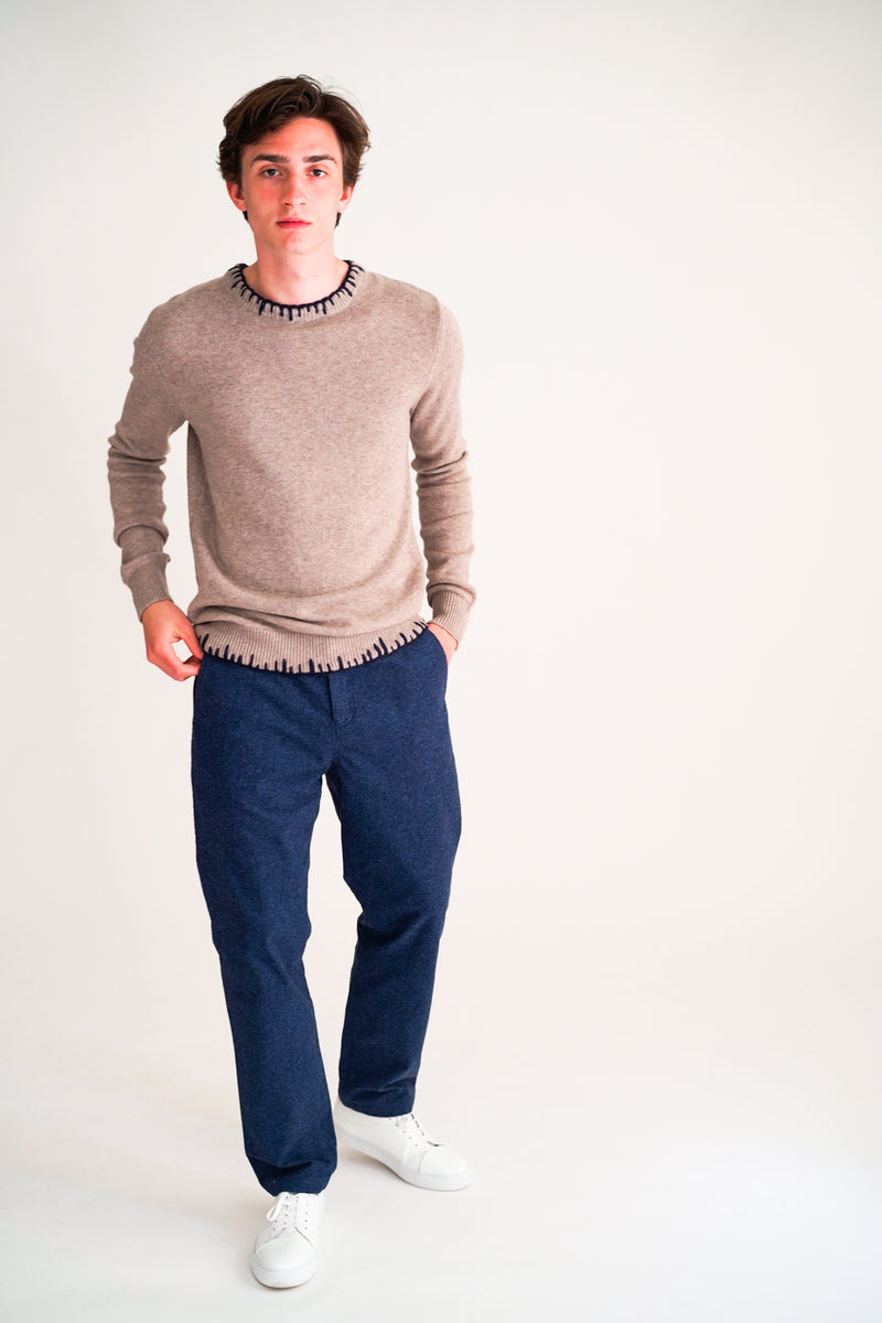 KENVER SAND MELANGE MERINO SWEATER