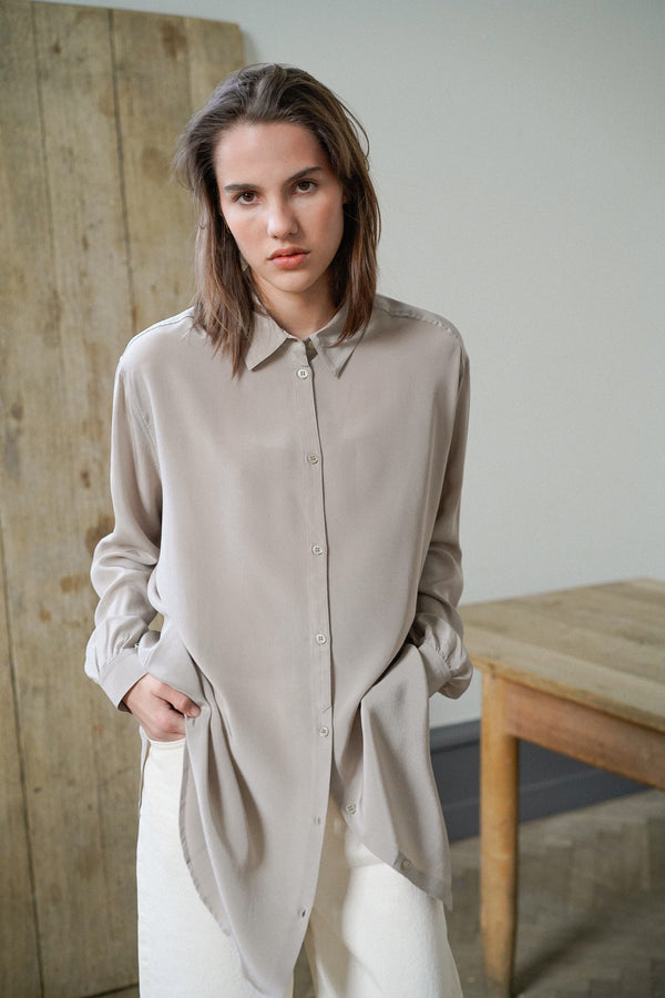SHELLEY TAUPE SILK SHIRT