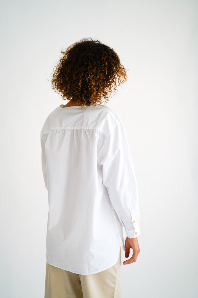 SHAI WHITE GARMENT DYED SHIRT