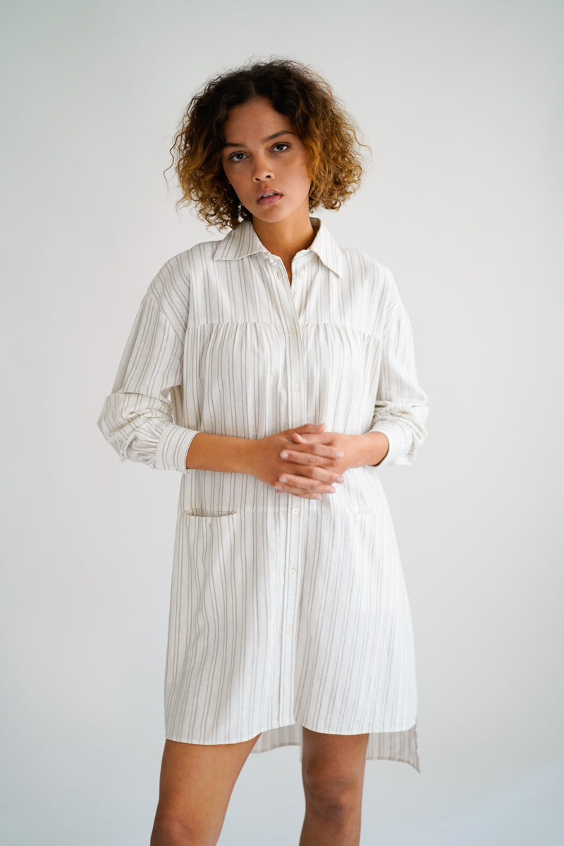 SAGE WHITE/BEIGE STRIPE OVERSIZED DRESS