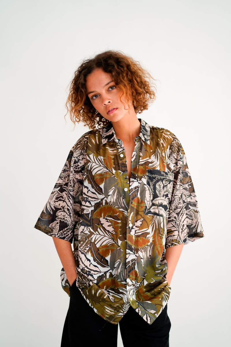 SEAN PALM PRINT OVERSIZED SHORT SLEEVE SHIRT