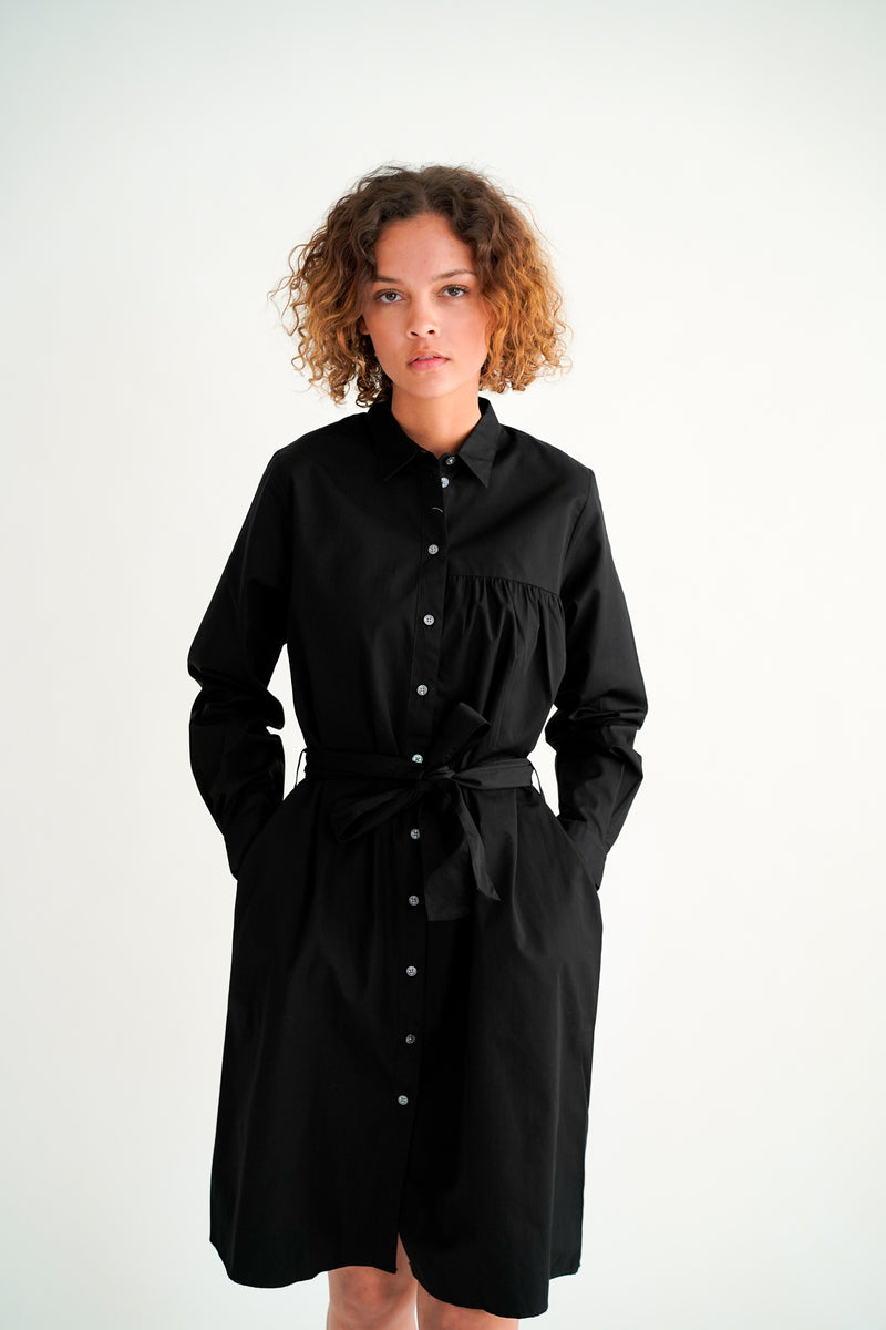 SANTOLINA BLACK SHIRT DRESS WITH BELT