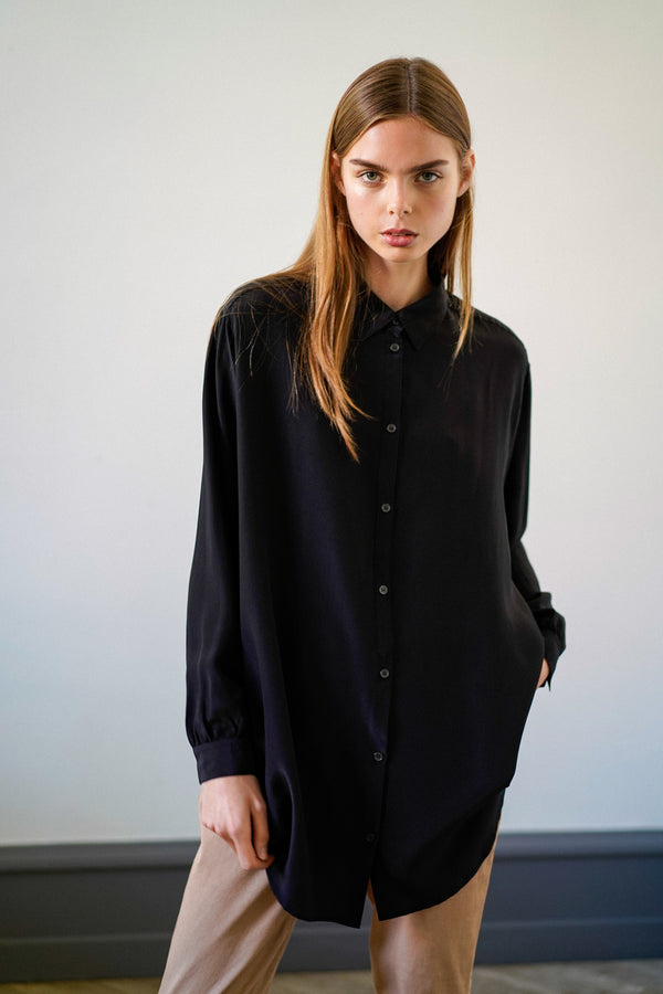 SHELLEY BLACK SILK SHIRT