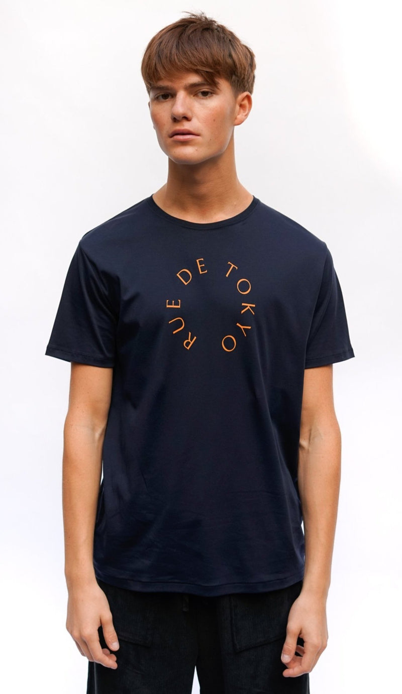 TREVES NAVY WITH ORANGE CIRCLE LOGO T-SHIRT