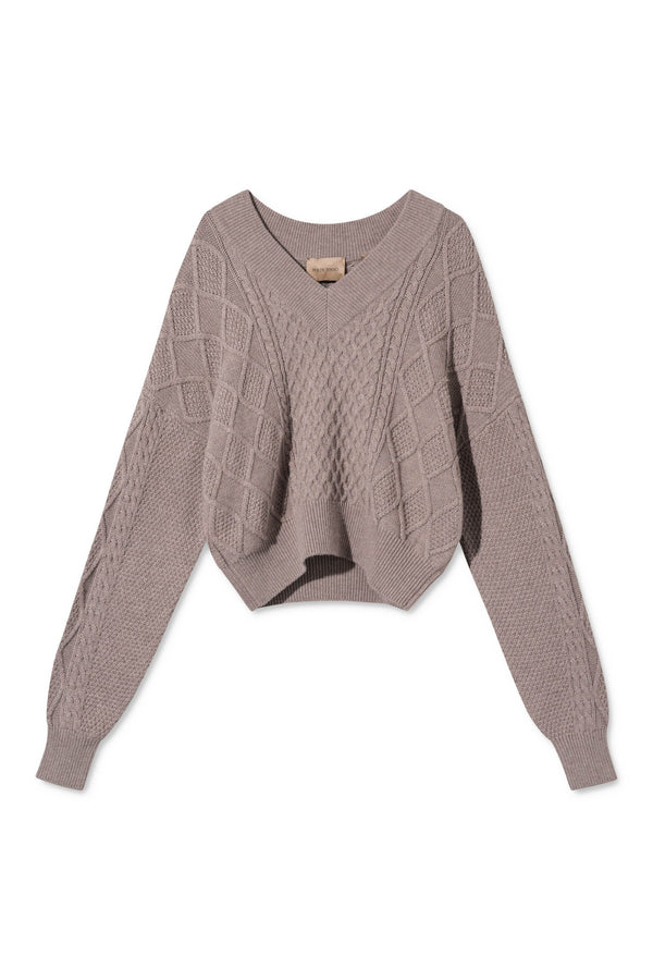 KORNELIA SAND CABLE KNIT SWEATER