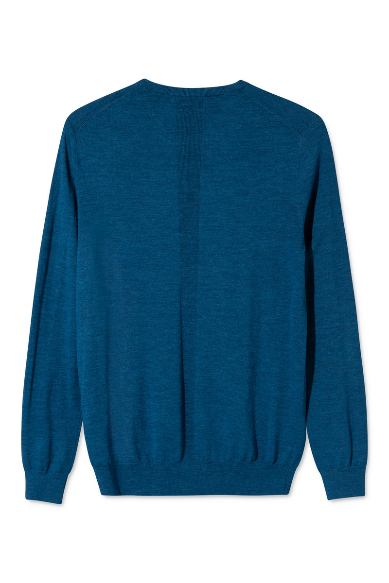 KELLA BLUE MELANGE ROUND NECK KNIT