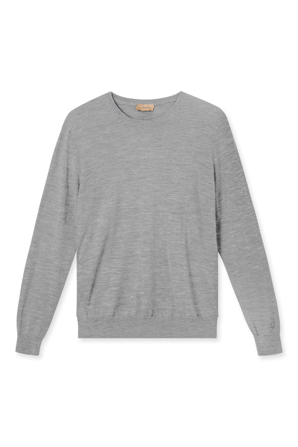 KELLA GREY MELANGE ROUND NECK KNIT