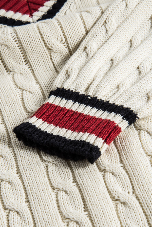 Kensito Ivory Navy Red Sweater