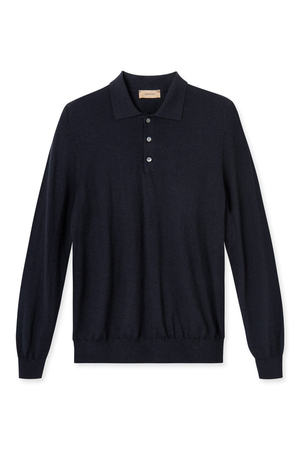 KOMME NAVY LONG SLEEVE POLO KNIT