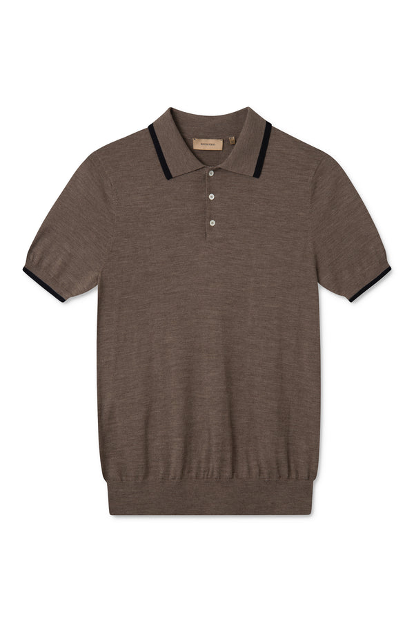 KOMME BROWN NAVY SHORT SLEEVE POLO KNIT