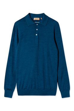 KOMME BLUE MELANGE LONG SLEEVE POLO KNIT