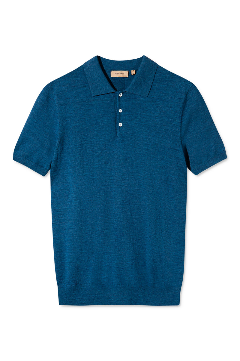 KOMME BLUE MELANGE SHORT SLEEVE POLO KNIT