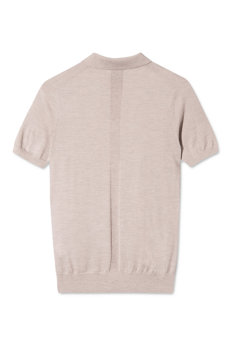KOMME SAND MELANGE SHORT SLEEVE POLO KNIT