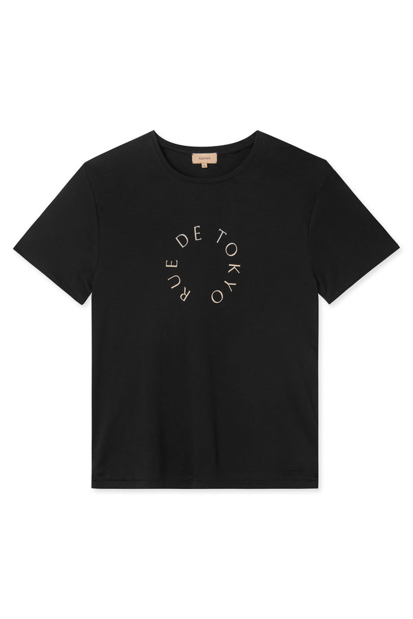 TREVES BLACK WITH BEIGE CIRCLE LOGO T-SHIRT