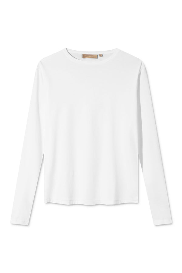 TORI WHITE ORGANIC COTTON LONG SLEEVE T-SHIRT