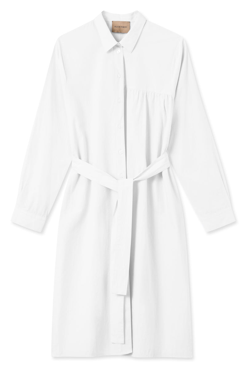 SANTOLINA WHITE SHIRT DRESS WITH BELT