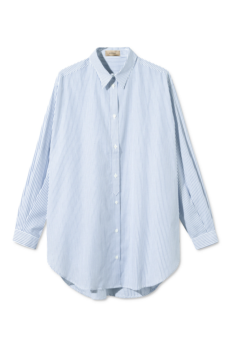 SHANA NAVY / WHITE STRIPE SHIRT
