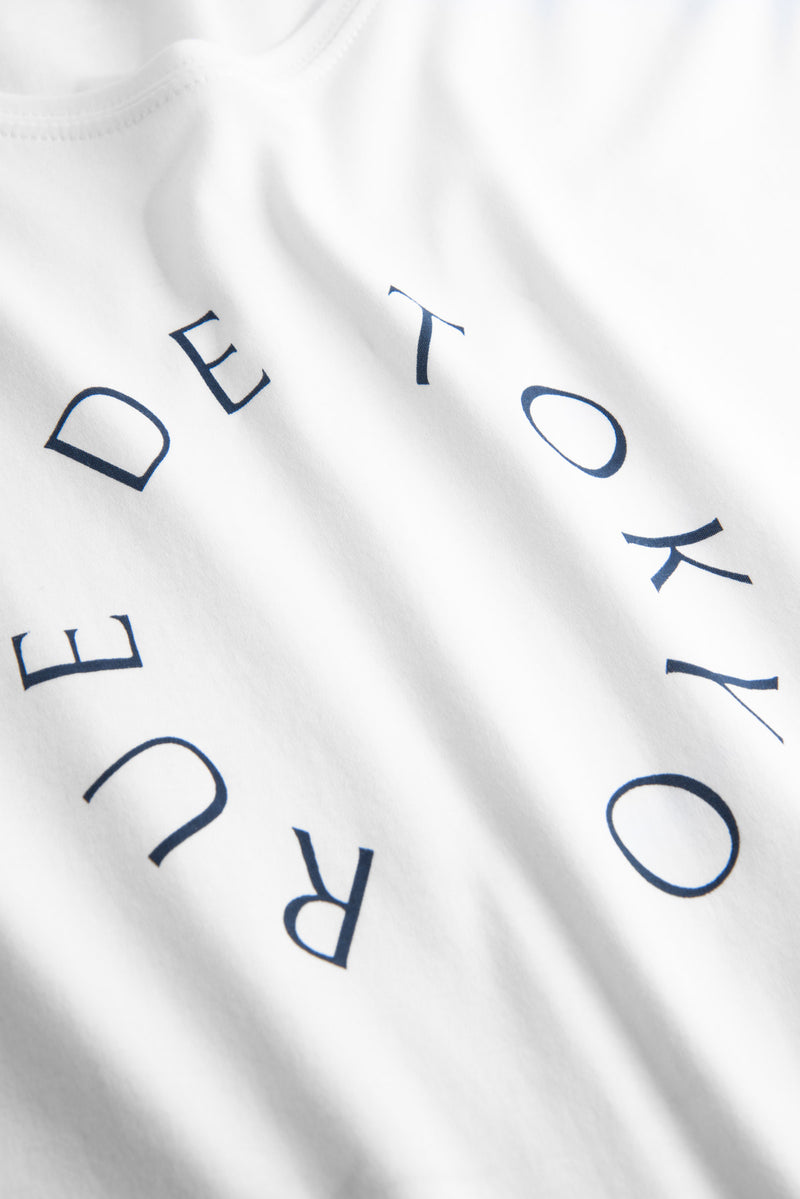 TREVES WHITE WITH NAVY CIRCLE LOGO T-SHIRT
