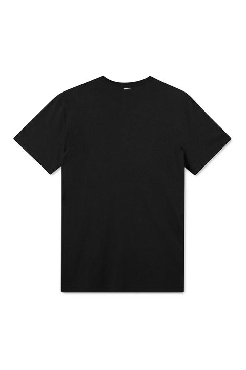 TREVES BLACK WITH POCKET AND WHITE PRINT T-SHIRT