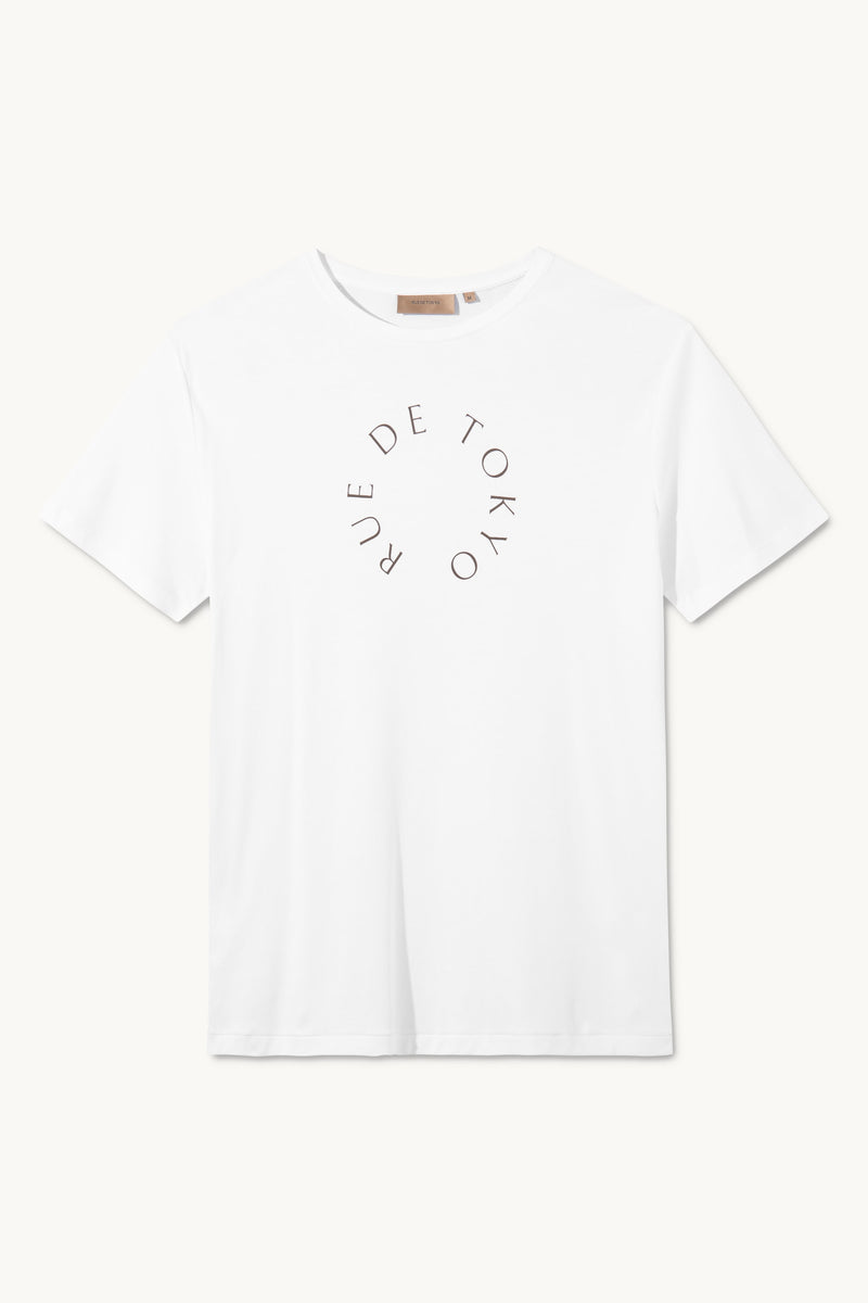TREVES WHITE WITH ARMY CIRCLE LOGO T-SHIRT