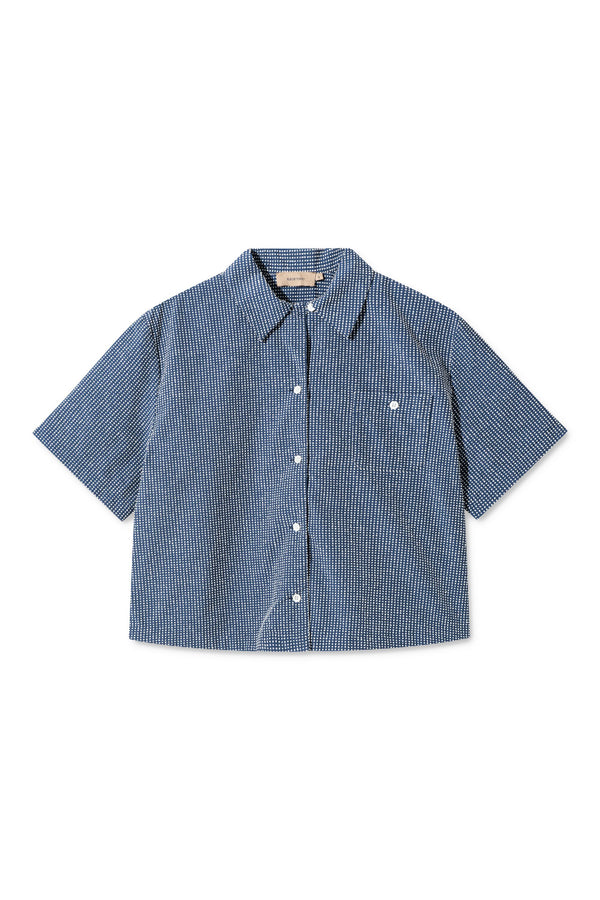 SUSAN NAVY WHITE DOT SHIRT