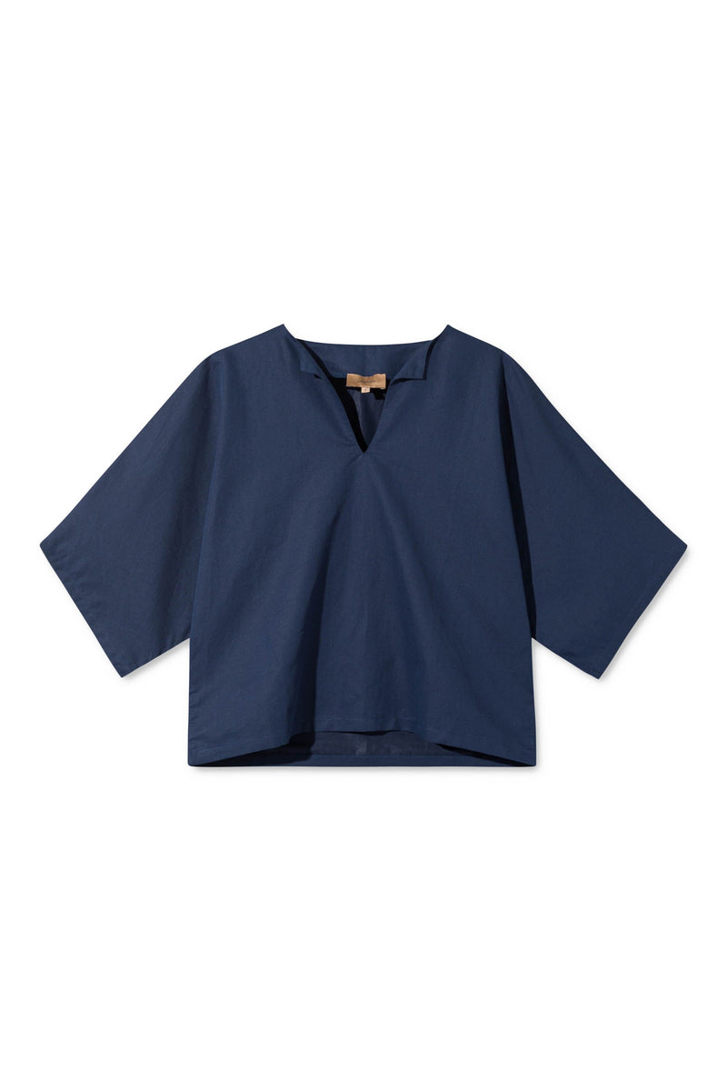 SYLVIA NAVY BOXY CROPPED SHIRT