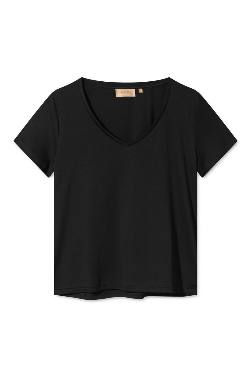 TILIA BLACK ORGANIC COTTON V-NECK T-SHIRT