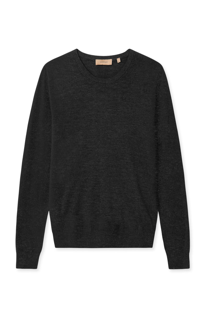 KELLA COX GREY MELANGE ROUND NECK KNIT