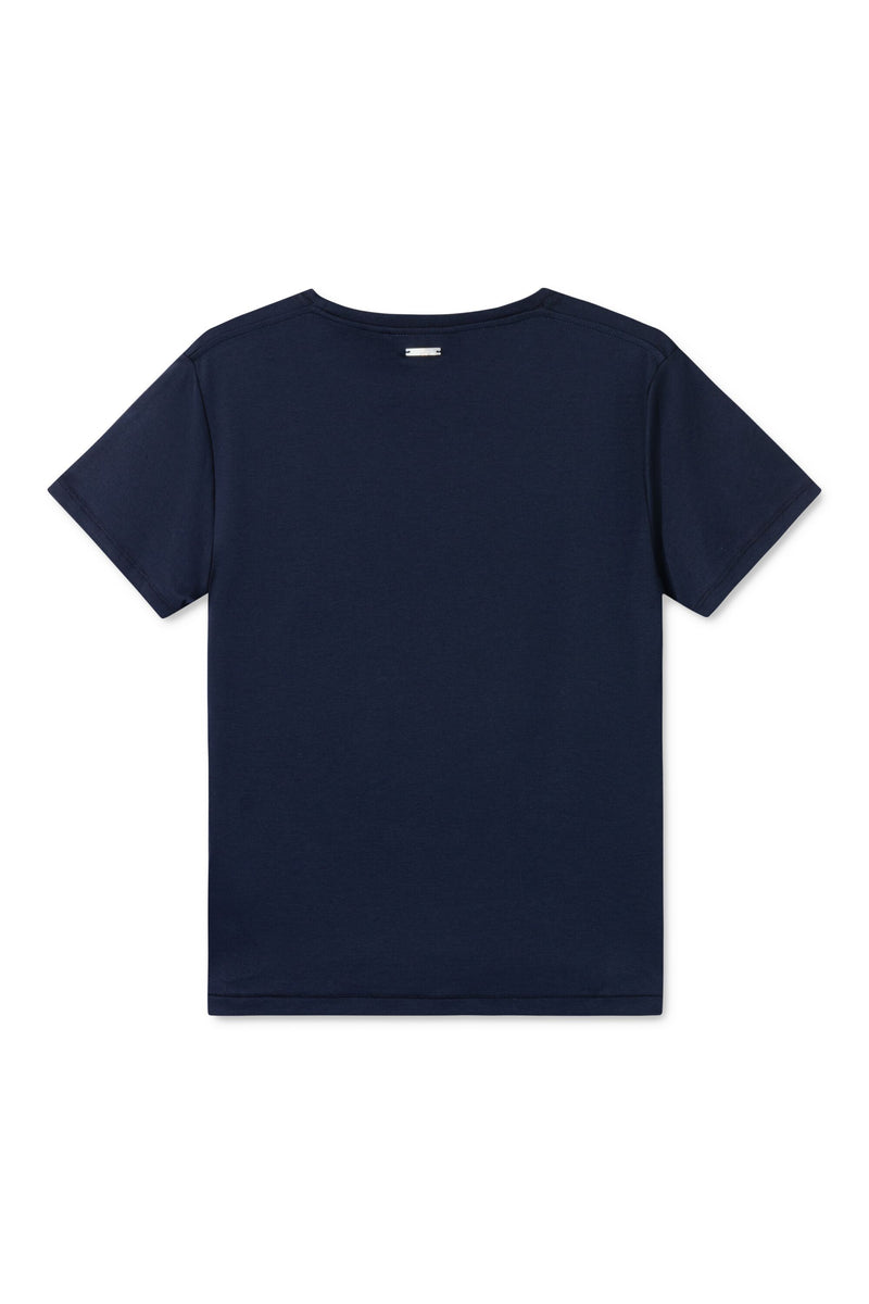 TAIMA NAVY WITH ORANGE CIRCLE LOGO T-SHIRT