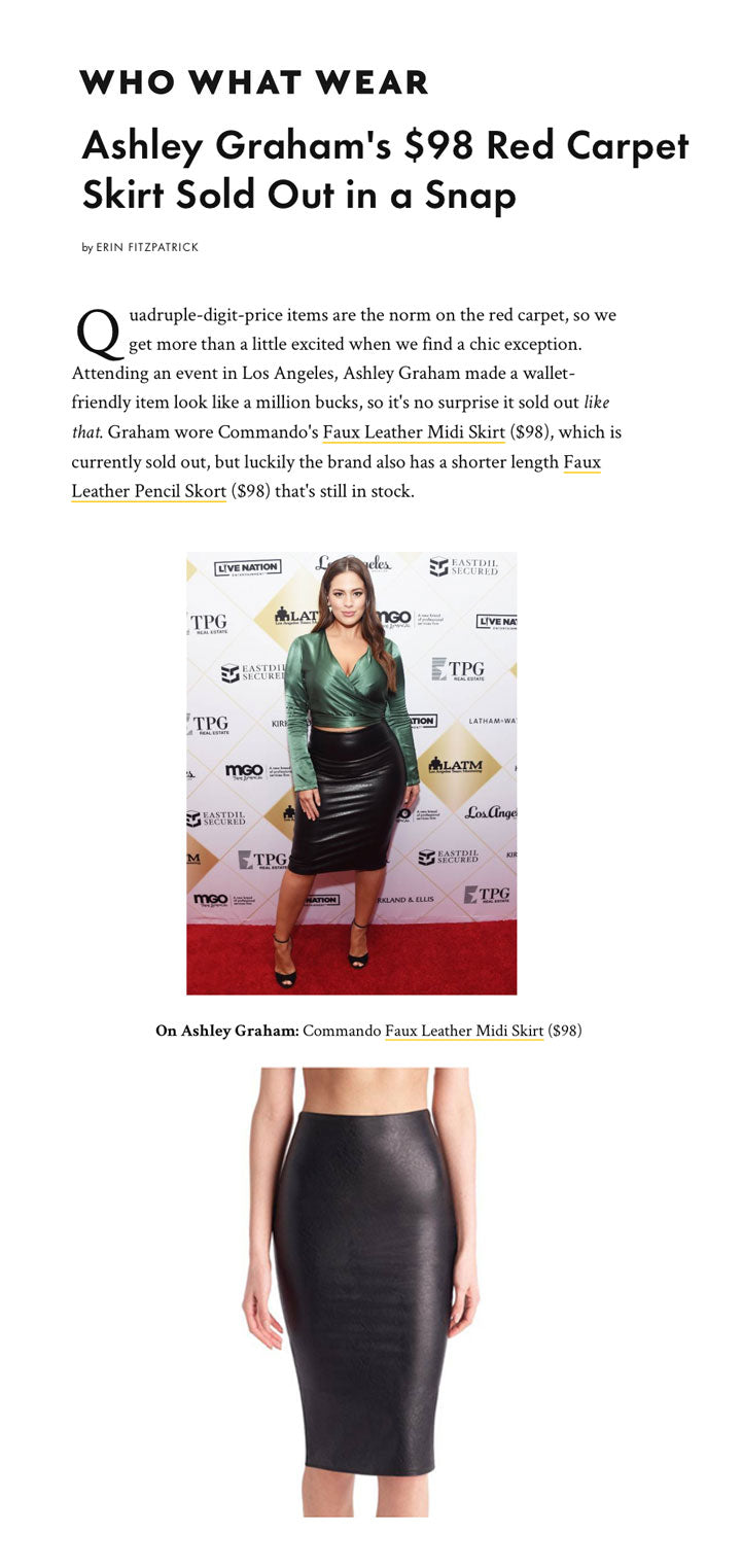 4a9a4ea478 Ashley Graham Styles the Faux Leather Midi Skirt & It Sells Out!