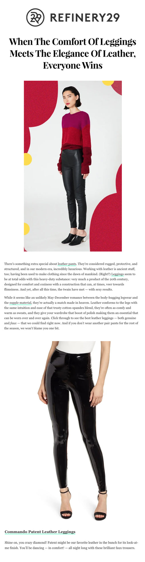 Patent Leather Leggings on Refinery29