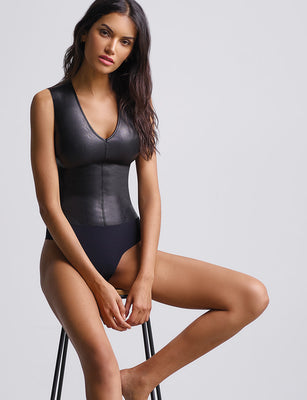 faux leather v neck bodysuit
